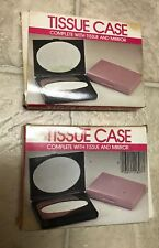 Vintage 2 Lot Amber & Blue Tissue Case Complete Tissue/Mirror NEW