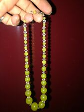 Jade & Crystal Necklace Art Deco Czech Glass Faux