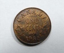 Canada King George V One Cent 1932 AU Traces of Mint Luster Scarce