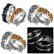 100PCS gold SILVER black spin chain stainless steel Rings lots wholesale