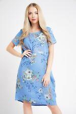 New Ladies Italian Floral Lagenlook Panel Insert Scoop Neck Pocket Linen Dress