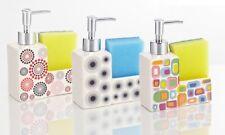Dispenser Porta Sapone Liquido Portasapone 2in1 Porta Spugna Ceramica Color dfh