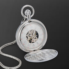 Numeral Skeleton Design Fashion Dress Mechanical Pocket Watch Silver Case Roman
