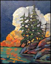 Vintage HAWKINS Original Western Sunset Landscape Impressionism Art Oil Painting