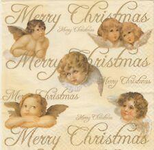 2 Serviettes en papier Anges de Noël - Paper Napkins Xmas Angels