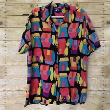womens vintage Dockers button up long sleeve colorful house print Large