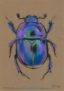 original drawing A4 305GZ art samovar pastel Modern Maybug Beetle Signed 2021