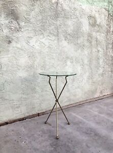Vintage Hollywood Regency Metal & Glass Folding Tripod Legs End Table - Cocktail