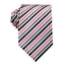Pink Grey Striped 3.4'' 100% Silk Jacquard Classic Woven Man's Tie Necktie FS14