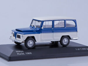 Scale model 1/43 Willys Rural, blue/white 1968