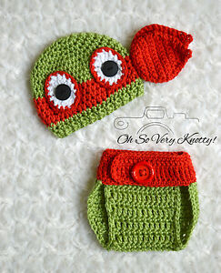 Newborn TMNT Inspired Handmade Ninja Turtles Raphael Red Crochet Baby Photo Prop