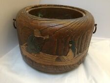 ANTIQUE 19th CENTURY JAPANESE WOOD HIBACHI - METAL LINED- W/DECORATION