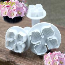 3pcs Hydrangea Fondant Cake Decorating Plunger Cookies Cutter Flower Mold