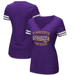 MINNESOTA VIKINGS WOMEN'S PARTY NOTCH NECK T-SHIRT NEW NFL LICENSED SIZE LARGE