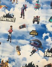 Fortnite 100 % COTTON Fabric  1/4 YARD 9'X 58 LICENSED PRINT Free Blue Elastic