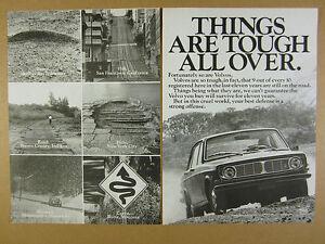 1970 Volvo 144 Sedan road street hazards & car photo vintage print Ad