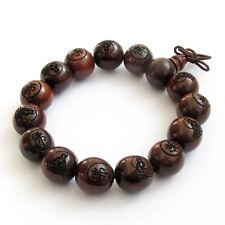 Rosewood Buddha Word Fo Bodhisattva Beads Tibet Buddhist Prayer Bracelet Mala