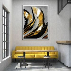 Gold & Black Abstract Design Print Premium Poster High Quality choose sizes