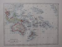 1904 Carte ~ Oceania Montrant Foreign Possessions Australie Polynésie Philippine