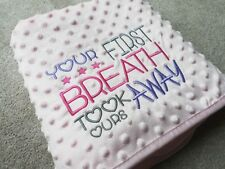 DIMPLE BLUE / PINK FIRST BREATH BLANKET EMBROIDERED PERSONALISED NAME DATE