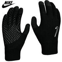 Nike Gloves Knitted Junior Boys Touch Screen Running Sports Kids Winter Black