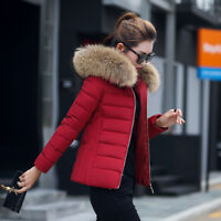 NEW Women ladies quilted Winter coat puffer fur collar Hooded jacket parka down
