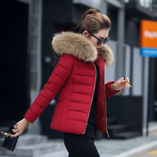 fd3921e8ec540 NEW Women ladies quilted Winter coat puffer fur collar Hooded jacket parka  down