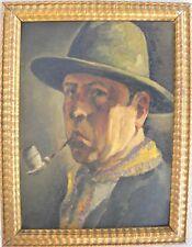 Roberto IRAS BALDESSARI  (Innsbruck 1894 - Roma 1965) Uomo con pipa OLIO 1927