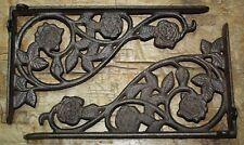 2 Cast Iron Antique Style ROSE Brackets Garden Braces Shelf Bracket HD FLOWER