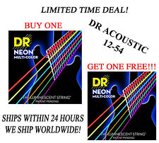 **DR HI-DEF NEON MULTI-COLOR ACOUSTIC GUITAR STRINGS (12-54) -- COATED STRINGS**