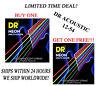 **DR HI-DEF NEON MULTI-COLOR ACOUSTIC GUITAR STRINGS (12-54) -- COATED STRINGS**