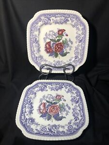 Vintage Copeland Spode English  MAYFLOWER Square Luncheon Plate RARE 2/8772