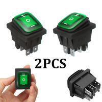 2 Waterproof 3-Position Rocker Switch Green LED ON/OFF/ON 6-Pin DPDT AC 10A/250V
