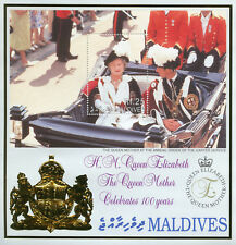 Maldives 2000 MNH Queen Mother Elizabeth 100th Birthday 1v S/S Royalty Stamps