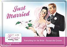 Nostalgic Art Blechpostkarte Just Married Wir haben geheiratet Hochzeit Wedding