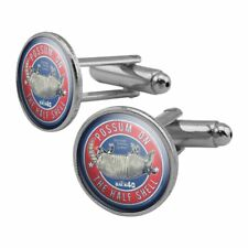 Back 40 Possum on the Half Shell Roadkill Round Cufflink Set Silver Color
