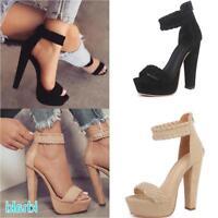 Women Ankle Strap Platform High Heel Sandals Casual Knit Weave Peep Toe Shoes