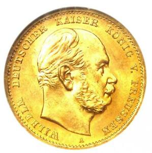 1872-A Germany Prussia Gold Wilhelm 10 Marks Coin 10M - NGC MS66 (Gem BU UNC)