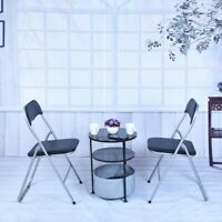 2Pcs Home Backrest Folding Chairs Casual Office Training Chairs With Metal Frame