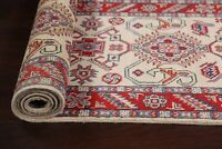 Geometric 10 ft. Ivory Super Kazak Oriental Runner Rug Hand-knotted 9' 10 x 2' 8