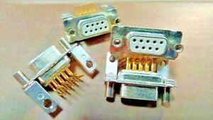 DB9 PRESA Connettore FEMMINA PIN 90 ° x PCB PIN PLACCATI ORO (QTY 10  PEZZI)