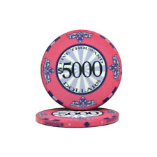 100 Pink $5000 Scroll 10g Ceramic Casino Poker Chips New - Buy 4, Get 1 Free