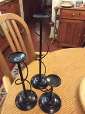 A SET OF 3 BLACK METAL TEA LIGHT HOLDERS #D