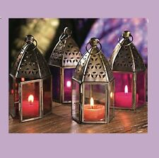 MOROCCAN HANGING COLOURED GLASS LANTERN (TEA LIGHT HOLDER) MINI IRON HOME GARDEN