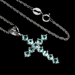 Round Neon Blue Apatite 3mm White Gold Plate 925 Sterling Silver Cross Necklace