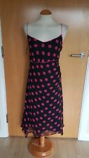 ladies PLANET dress size 16 black pink spotted party evening SILK