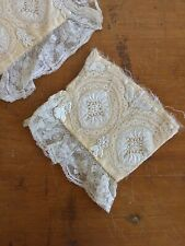 Pair Antique Victorian Densely Hand Embroidered Cuffs Lace Grapes Leaves