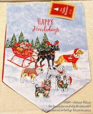 New Christmas Winter Table Buffet Runner Dogs Pulling Santa'S Sleigh Lab Bulldog