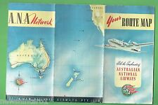 #D228.  1960s ANA AUSTRALIAN NATIONAL AIRWAYS ROUTE MAP BOOKLET