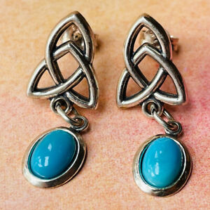 Celtic triskel silver and blue stones earrings